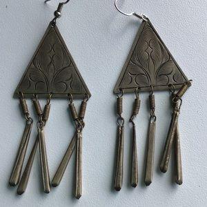 Vintage Etched Triangle Tassel Necklace
